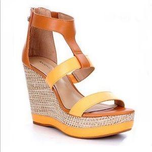 Antonio Melani Cam T-Strap leather Wedges orange
